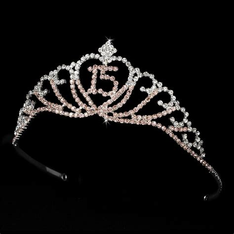 large rhinestone silver shiny quinceanera sparkling sweet 15 quinceaera tiara covered in pink