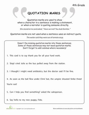 what are quotation marks worksheet education