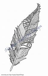 Coloring Feather Printable Adult sketch template