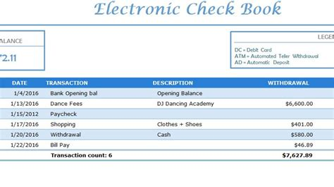 electronic check book  excel templates