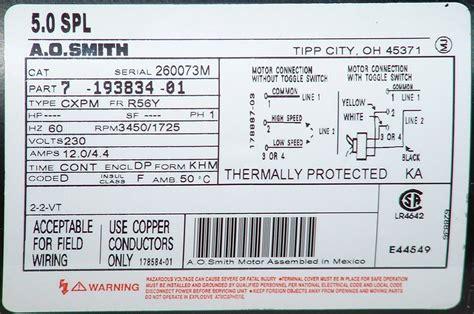 Ao Smith Ac Motor Wiring by Univseral Spa Motors