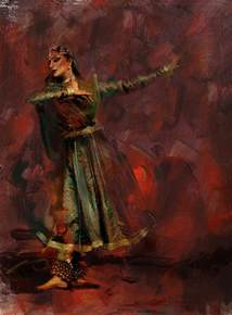 Curtain Dancers by Classical Dance Art 7 Painting By Maryam Mughal