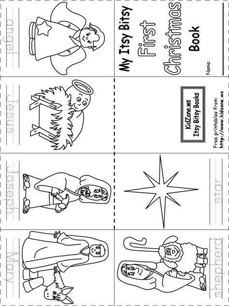 printable christmasreligious scenes to add your own poems to and print itsy bitsy book