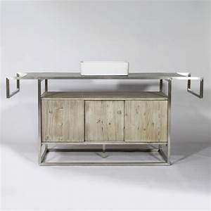 Meuble Salle De Bain Metal : meuble salle de bain industriel 1 vasques bois inox made in meubles ~ Teatrodelosmanantiales.com Idées de Décoration