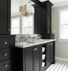 Black bathroom vanity transitional bathroom benjamin for What kind of paint to use on kitchen cabinets for number 7 wall art