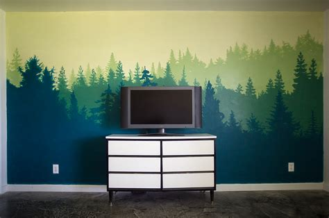 how to paint a mural on a bedroom wall forest wall mural bedroom makeover city