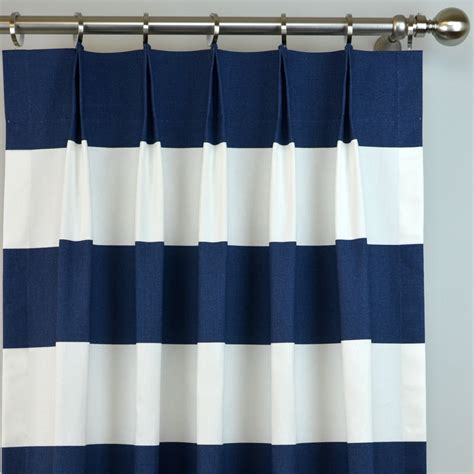 horizontal striped drapes navy blue white cabana modern wide horizontal stripe curtains