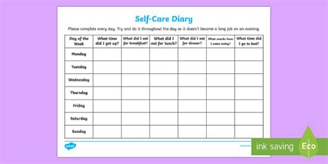 Self Care Plan Template by Self Care Diary Families File Recording