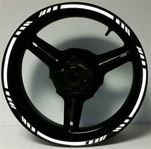 White Reflective Motorcycle Rim Stripes Wheel Decals Tape