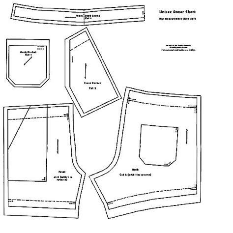 Template For Sewing by Unisex Boxer Shorts Free Sewing Pattern Craft