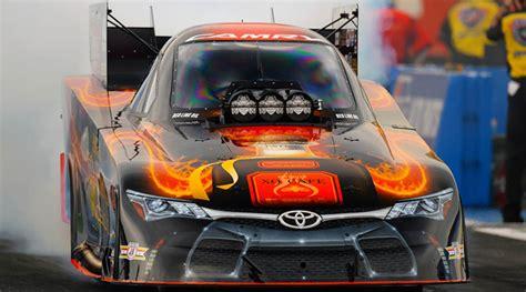 nhra race  patron funny car driver