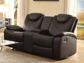 leather reclining sofa with console hereo sofa