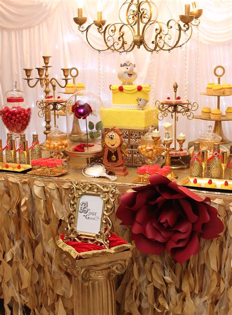 sweet sixteen dessert table beauty and the beast desserts table paper flowers