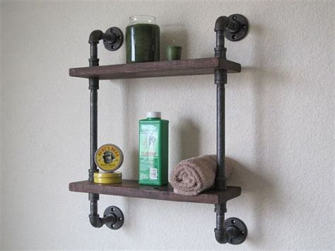 bathroom pipe shelf industrial nature  towels