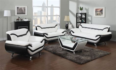 2 Leather Sofa Set by 2 Modern White Leather Sofas With Black Trim