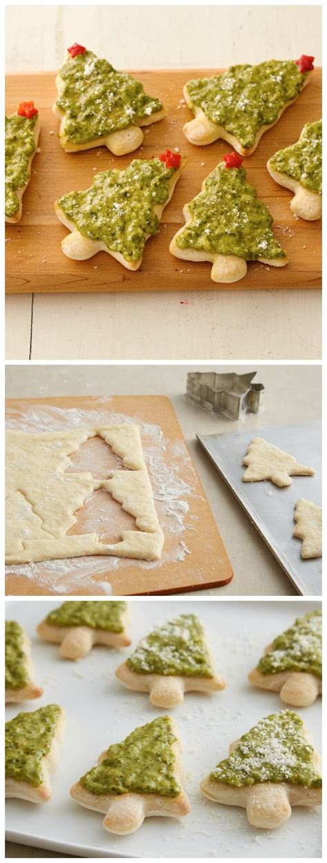 christmas tree snack by pilsbury pillsbury pizza crust cookie cutter pesto tree pizzas try it with your