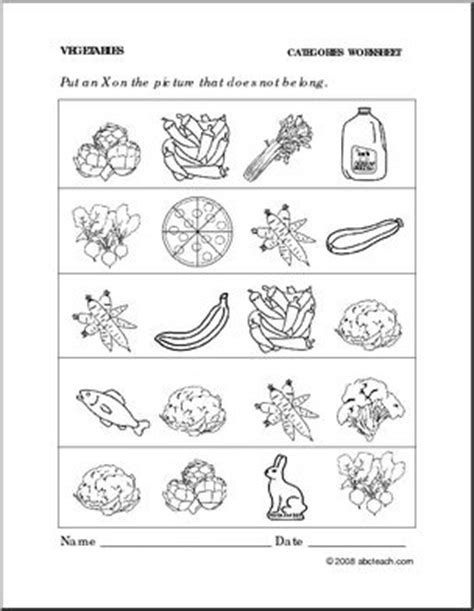Worksheet: Vegetables Categories (preschool/primary