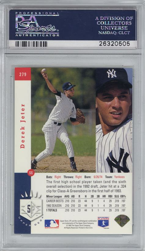 The businesses listed also serve surrounding cities and neighborhoods including los angeles ca, monterey park ca, and alhambra ca. Lot Detail - Derek Jeter Near-Mint 1993 SP #279 Foil Rookie Card - PSA Graded NM 7!