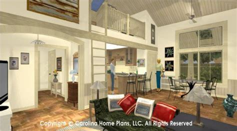 compact  bedroom  bath small house plan  cathedral ceiling great room  sleeping loft