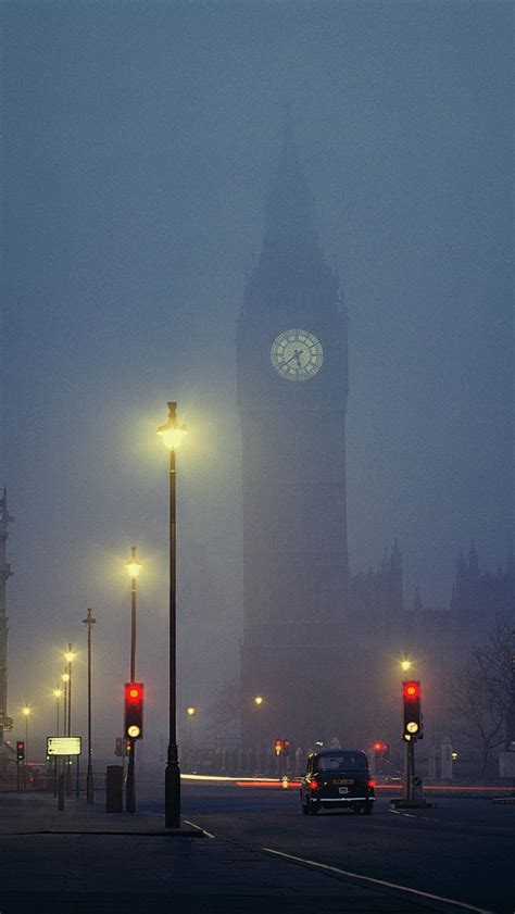 london foggy night big ben cabby iphone  wallpaper hd