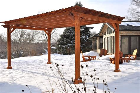 exterior awesome outdoor living space decoration using grey wood small pergola roof