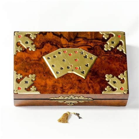 Antique English Burl Walnut Playing Card Box From The