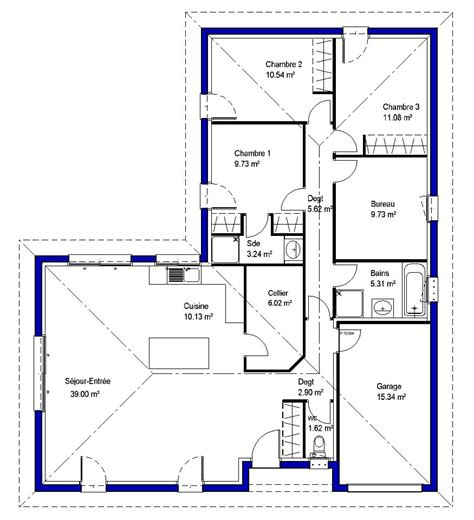 plan maison plain pied 3 chambres 1 bureau lysa contemporaine maisons lara