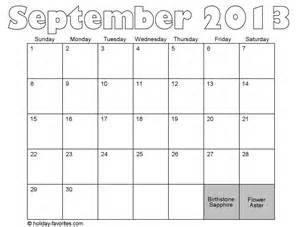 September 2013 Calendar with Holidays