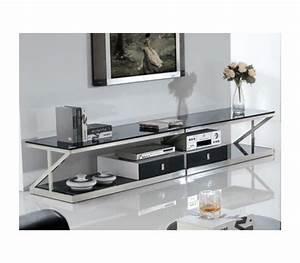 Meuble Haut Salon : meuble tv en verre haut de gamme ~ Teatrodelosmanantiales.com Idées de Décoration