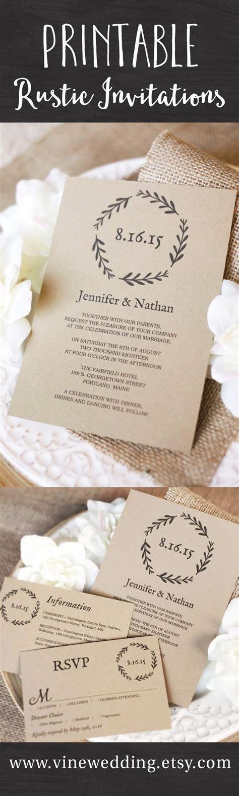 beautiful rustic wedding invitations editable instant