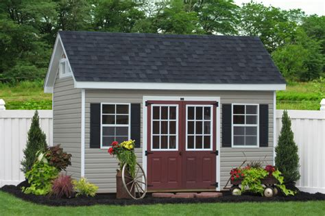 landscaping around a garden shed 8x14 premier garden shed in vinyl traditional shed philadelphia by sheds unlimited inc