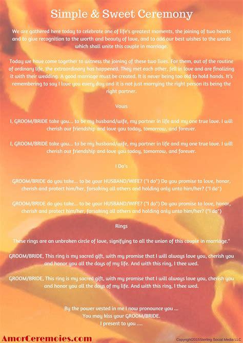 simple wedding ceremony script httpamorceremoniescom