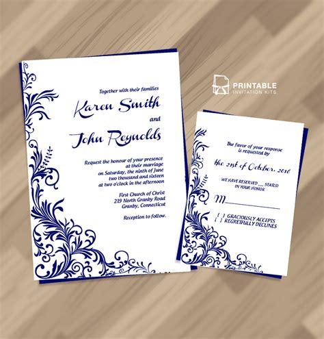 free pdf wedding invitation download foliage borders