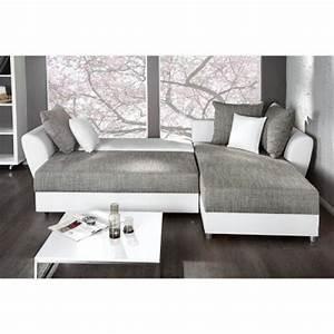 Canape Gris Et Blanc : photos canap d 39 angle convertible gris et blanc pas cher ~ Melissatoandfro.com Idées de Décoration