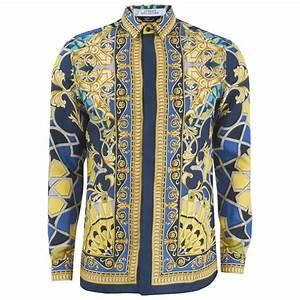 Versace Collection Men's Silk Printed Shirt - Blue Mens ...