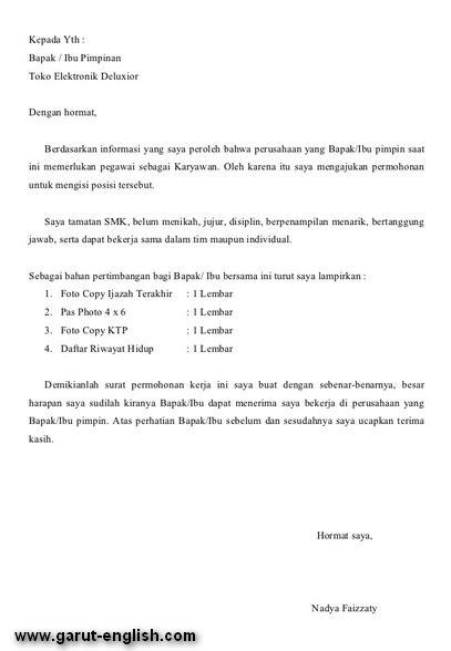 surat lamaran kerja karyawan toko info kerja