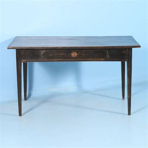 antique black painted writing table desk from sweden