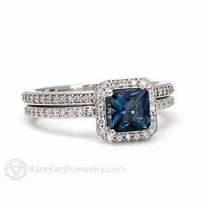 london blue topaz diamond halo engagement ring and wedding With rare earth wedding rings