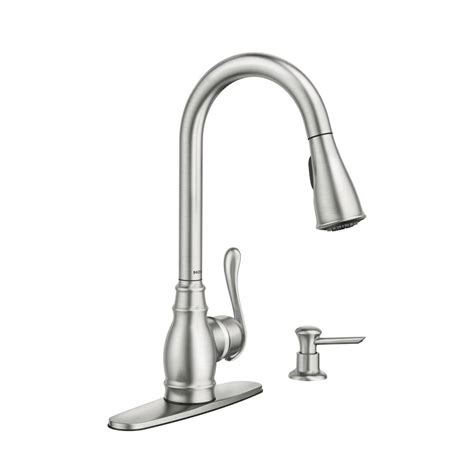 moen pull kitchen faucet shop moen anabelle spot resist stainless 1 handle pull