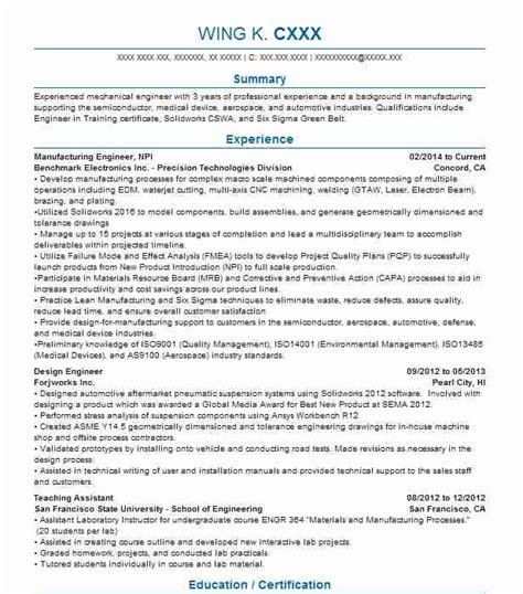 product design and engineering resume exles