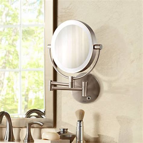 satin nickel mirror satin nickel cordless led lighted wall mounted mirror 2104