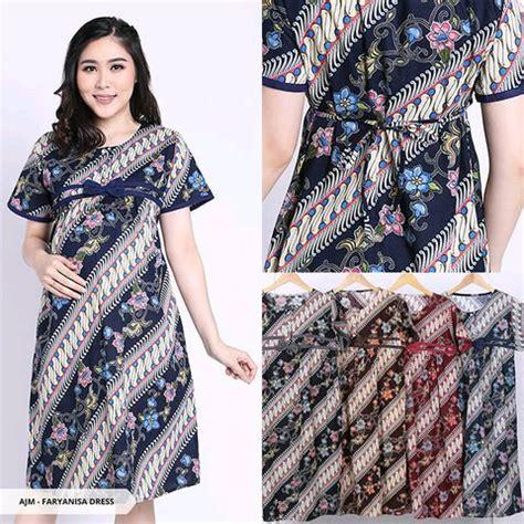 jual dress batik ukuran besar baju dress  ibu hamil