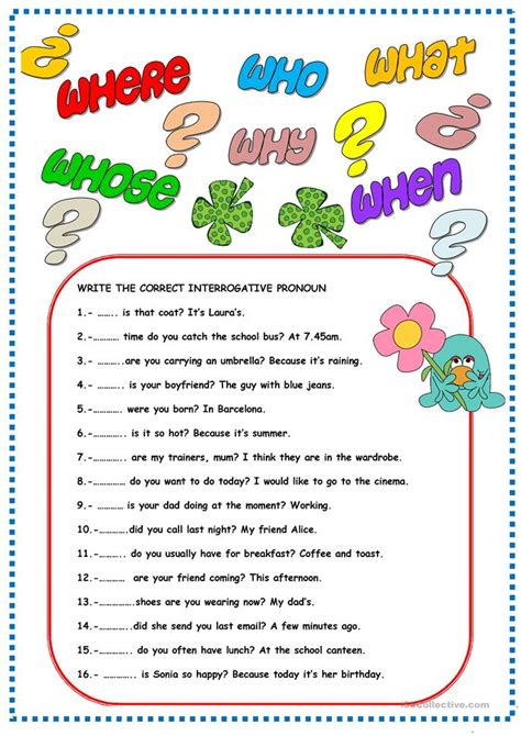 7 free esl interrogative pronouns worksheets