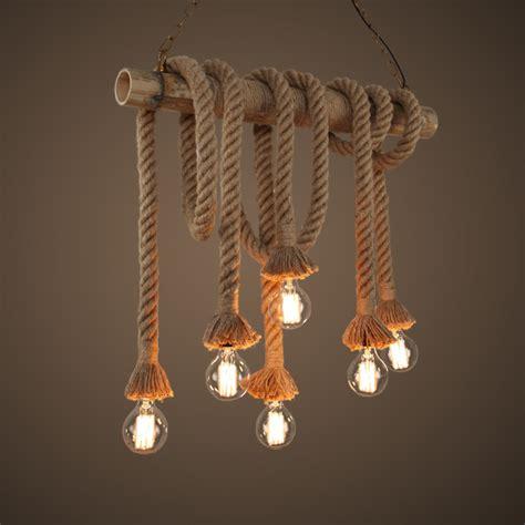 decorative light fixtures vintage handmade manila hemp rope with bamboo pendant