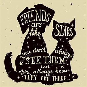 Cat and dog friends grungy card for Friendship Day with ...