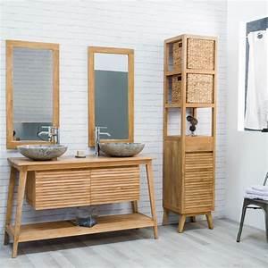Meuble sous vasque double vasque en bois teck massif for Meuble salle de bain bois scandinave