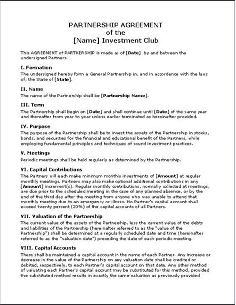 Small Business Agreement Template Business Partnership