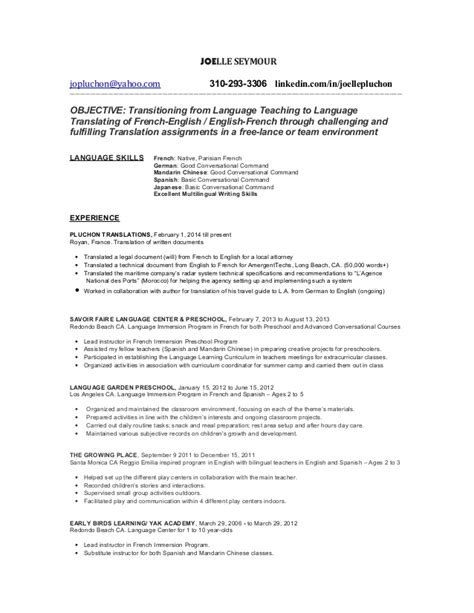 Translator Resume Sle by Language Translator Resume Update 2016