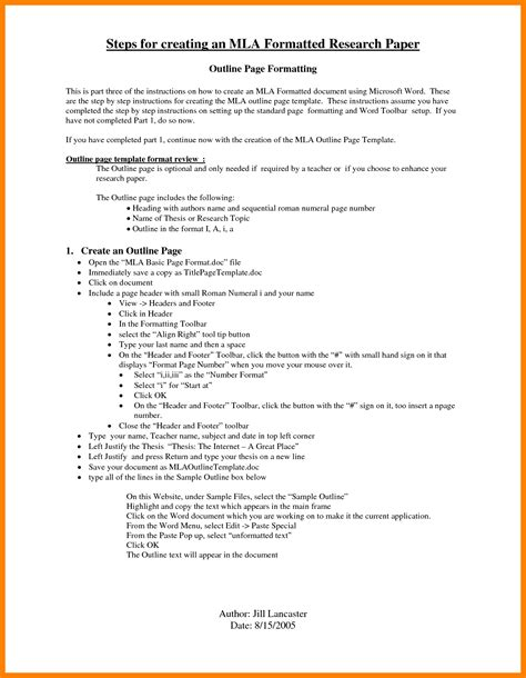 Mla Resume Template by 7 Mla Outline Template Coaching Resume