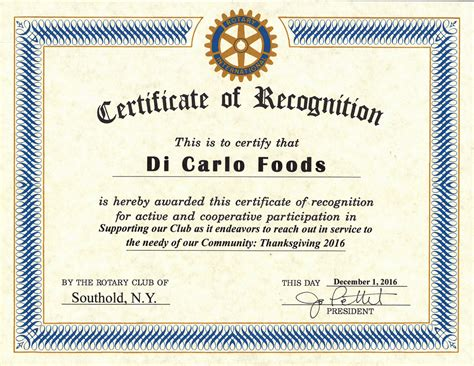 Rotary Club Certificate Template by Certificate Of Appreciation Is Hereby Awarded To Image